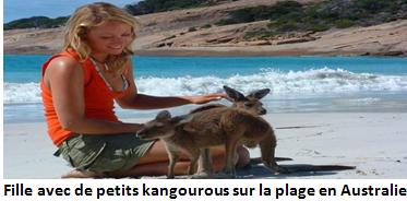 Fille avec de petits kangourous (Australie)