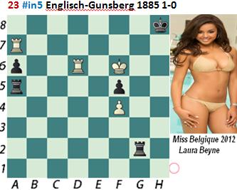 puzzle 23 Englisch-Gunsberg 1885 # in 5   1-0